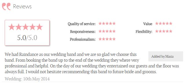 Raindance Wedding Band Ireland Testimonial 5