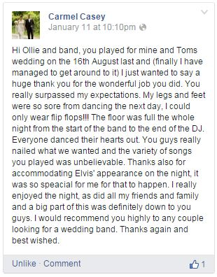 Raindance Wedding Band Ireland Testimonial 6
