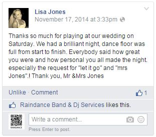 Raindance Wedding Band Ireland Testimonial 7